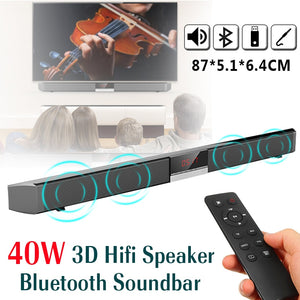 40W Bluetooth HiFi 3D 4 Speakers Soundbar - Remote Control, Audio Stereo Speaker for Home TV, Mobile Phones and Tablets with Bluetooth