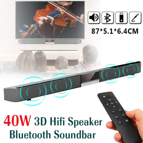 4*Speakers 3D HiFi Bluetooth 40W Soundbar, Remote Control, Audio Stereo Speaker for Home TV, Mobile Phones and Tablets with Bluetooth