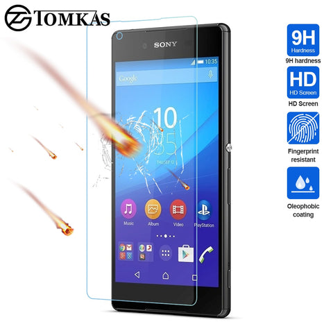 TOMKAS Tempered Glass For Sony Xperia Z3 Z5 Compact Protective Film For Sony Xperia XA M4 Aqua Glass Tempered Screen Protector