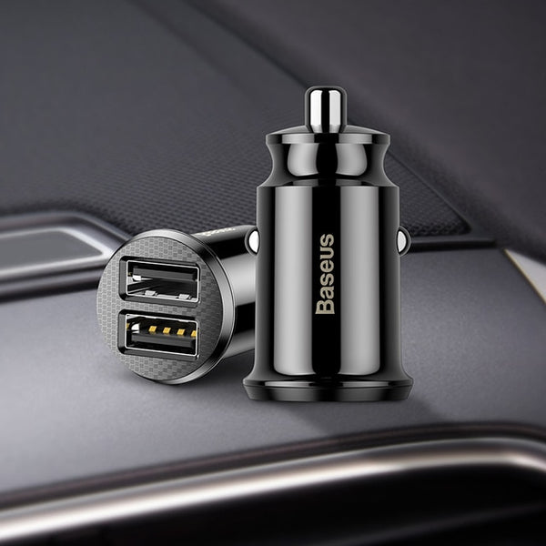 Baseus Mini USB Car Charger For Mobile Phone, Tablet, GPS (3.1A) Fast Phone Charger Dual USB Adapter for Car