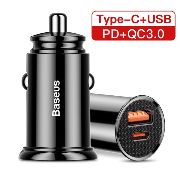 Baseus 30W Quick Charge 4.0 Fast Charging Car Phone Charger for Android (Samsung, Huawei Supercharge via SCP, USB Type C, PD 3.0)