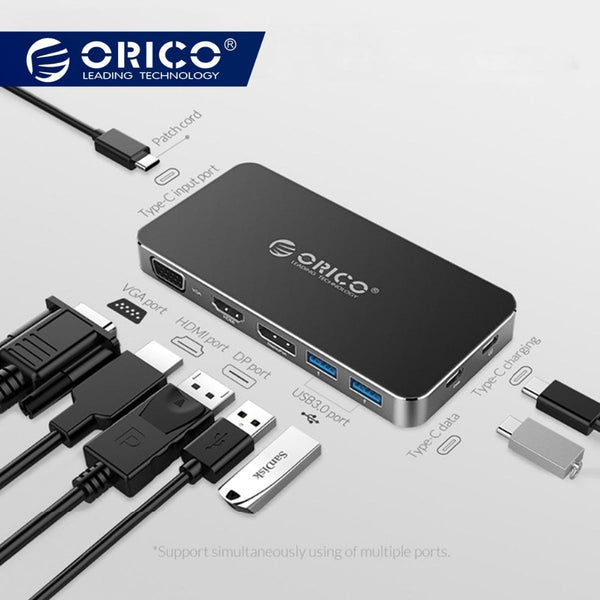 ORICO 8 in 1 Type-C Docking Station Multifunction HUB for Laptop with USB C to DP, HDMI, VGA and 4K with 2*USB 3.0 Converter
