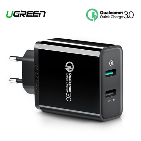 Ugreen Quick Charge 3.0 (30W) Fast 2 x USB Charger for iPhone 8/X, Samsung Galaxy S8, S9, Xiaomi mi8