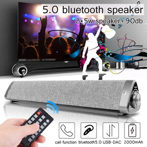 2*5W Bluetooth 3D Stereo SoundBar, Dual Subwoofers Speaker for Home TV or Theater with 3D Stereo Surround Sound Systems built-in
