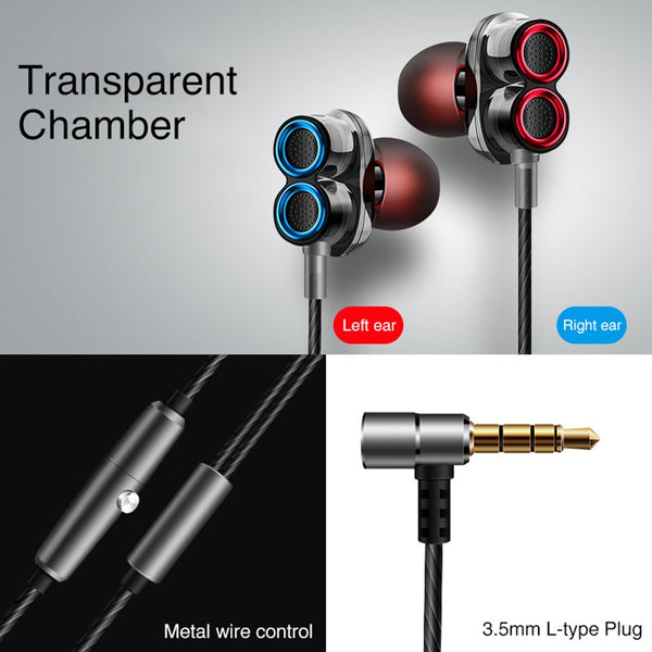 KISSCASE High Quality Bluetooth Earphone, Double Moving Coils Magnetic Bass Quad-core Speakers 3.5mm - Mini Stereo Sports Earbuds