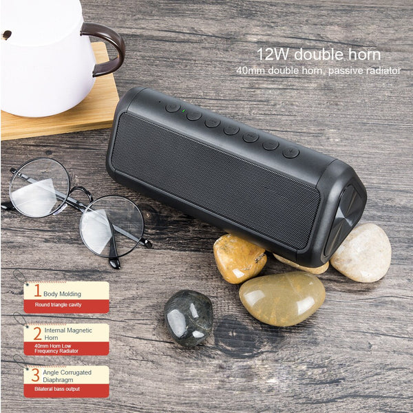 12W Portable Outdoor IPX5 Waterproof Solar Bluetooth Speaker with Power Bank