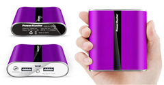 Dual-USB Power Bank with 12.000mAh, LED-light