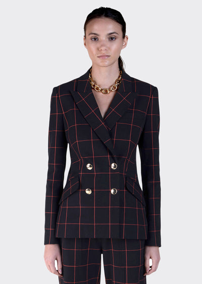 Black Windowpane Ady Double Breasted Blazer Front View - Womens Jacket by Derek Lam