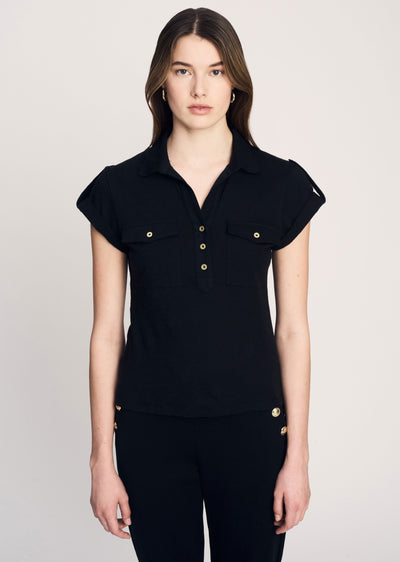 Black Bobbie Short Sleeve Polo - Women's Top by Derek Lam