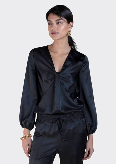 Black Cailyn Long Sleeve Blouse - Women's Top by Derek Lam