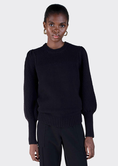 Black Ella Puff Sleeve Sweater - Women's Sweater by Derek Lam