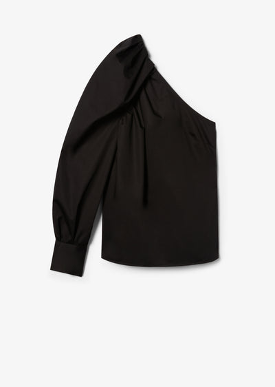 Black Elodie One Shoulder Blouse - Womens Top by Derek Lam
