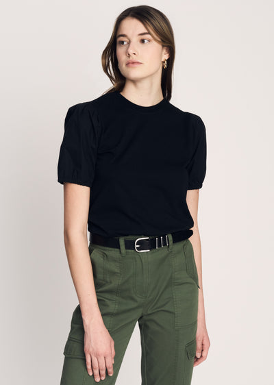 Black Eva Puff Sleeve T-Shirt | Women's T-Shirt by Derek Lam