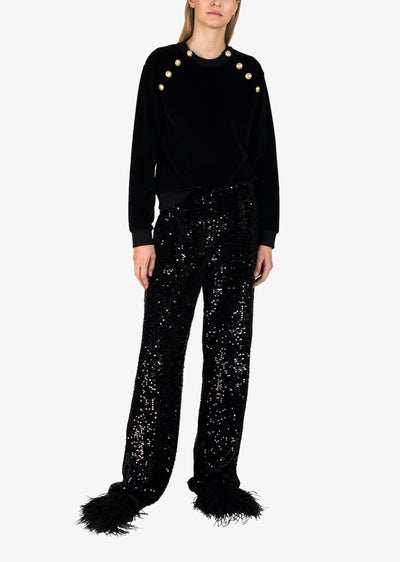 Black Galen Sequin Wide Leg Trouser - Women's Trouser by Derek Lam