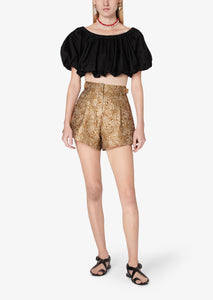 Black Hani Off Shoulder Bubble Top - Womens Top by Derek Lam