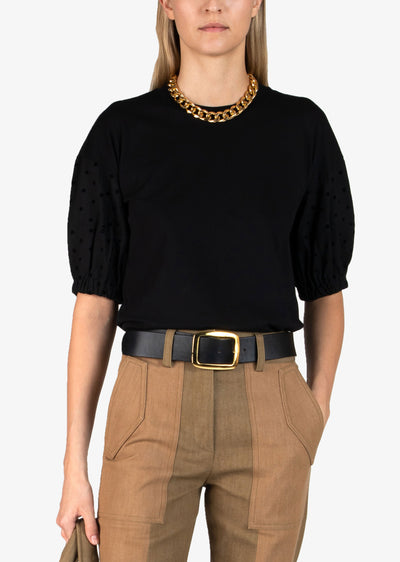 Black Harvey T-Shirt With Mixed Media Sleeve - Womens Sweater by Derek Lam