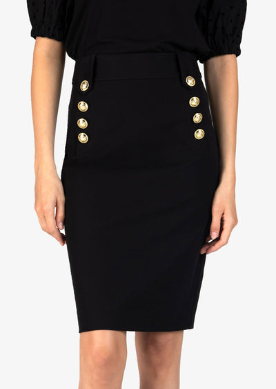 Black Lenox Pencil Skirt With Sailor Buttons - Womens Skirt by Derek Lam