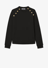 Load image into Gallery viewer, Black Lucie Sweatshirt with Sailor Buttons - Womens Sweatshirt by Derek Lam