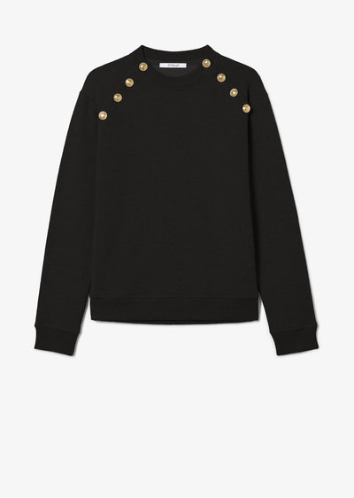 Black Lucie Sweatshirt with Sailor Buttons - Womens Sweatshirt by Derek Lam