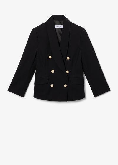 Black Myra Double Breasted Crop Blazer - Womens Jacket by Derek Lam