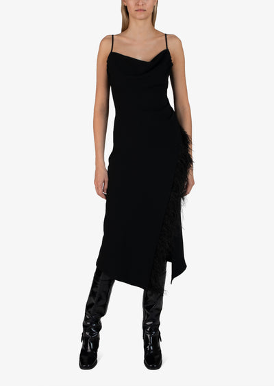 Black Nellie Dress With Feathers - Womens Sweater by Derek Lam
