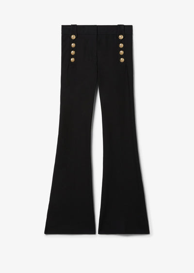 Black Robertson Flare Trouser with Sailor Buttons - Womens Pant by Derek Lam