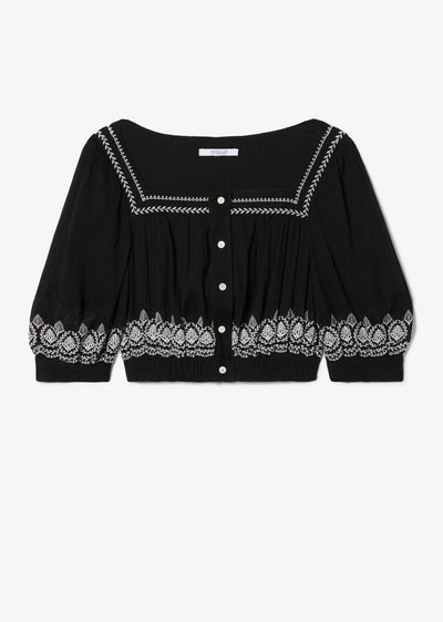 Black Tama Embroidered Crop Top - Womens Top by Derek Lam