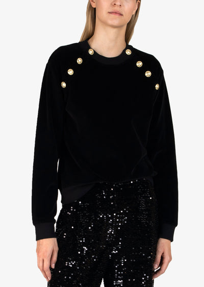 Black Lucie Velour Sweatshirt - Womens Sweatshirt by Derek Lam