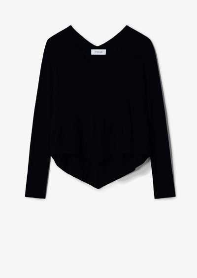 Black Ventura Tiered V-Neck Sweater - Womens Sweater by Derek Lam