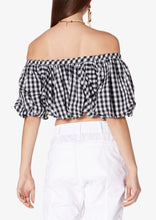 Load image into Gallery viewer, Black and White Gingham Hani Off Shoulder Bubble Top - Womens Top by Derek Lam