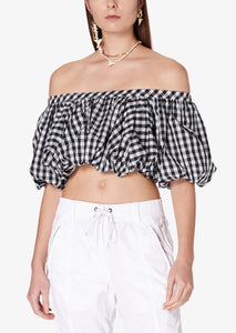 Black and White Gingham Hani Off Shoulder Bubble Top - Womens Top by Derek Lam