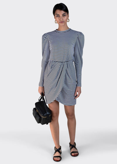 Black-White Nyla Puff Sleeve Dress - Womens Dress by Derek Lam