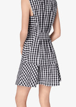 Load image into Gallery viewer, Black and White Gingham Satina Sleeveless Shirt Dress - Womens Dress by Derek Lam