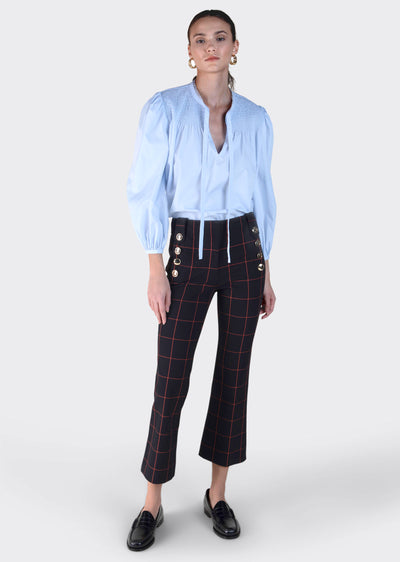 Black Windowpane Robertson Cropped Flare Trouser by Derek Lam 10 Crosby