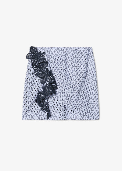 Blue Lanah Ruched Skirt With Lace Trim - Womens Skirt by Derek Lam