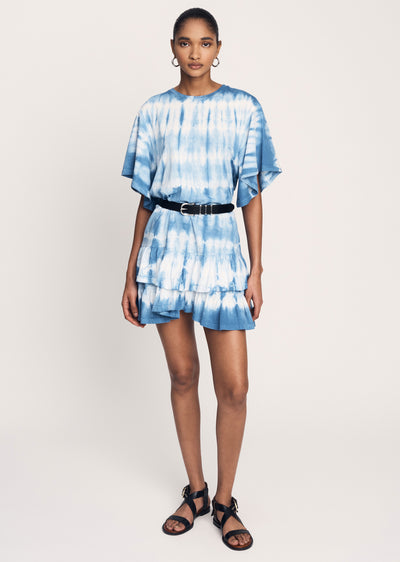 Blue Lois Short Sleeve Ruffle Dress - Womens Dress by Derek Lam