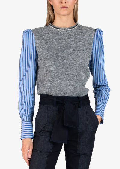 Blue Milton Mixed Media Sweater - Womens Sweater by Derek Lam