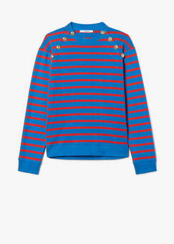 Blue and Red Striped Lucie Sweatshirt With Sailor Buttons - Womens Sweatshirt by Derek Lam