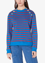 Load image into Gallery viewer, Blue and Red Striped Lucie Sweatshirt With Sailor Buttons - Womens Sweatshirt by Derek Lam