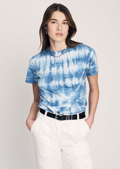 Blue Teddie T-Shirt with Twist Detail - Women's T-Shirt by Derek Lam