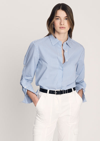 Blue-White Stripe Jessie Blouse With Button Down Sleeve - Womens Top by Derek Lam