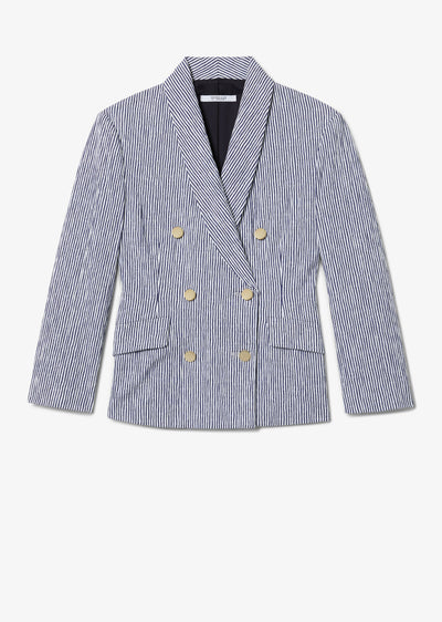 Myla Double Breasted Crop Blazer - Blue-White