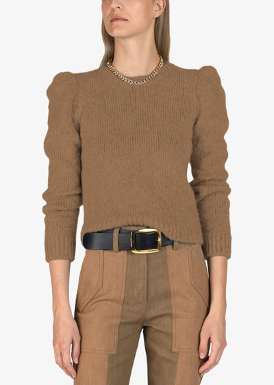 Camel Locken Puff Sleeve Sweater - Women's Sweater by Derek Lam