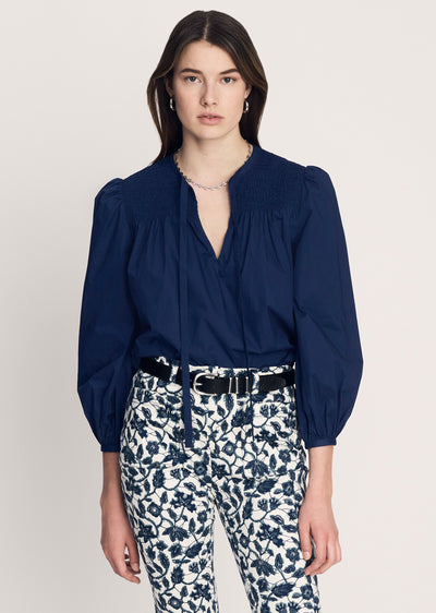 Deep Blue Austin Smocked Blouse With Ties - Womens Top by Derek Lam