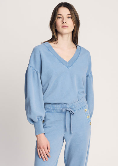 Deep-Blue Edie V Neck Sweatshirt - Women's Sweatshirt by Derek Lam