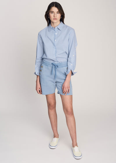 Deep-Blue Indya Short with Sailor Buttons - Womens Shorts by Derek Lam