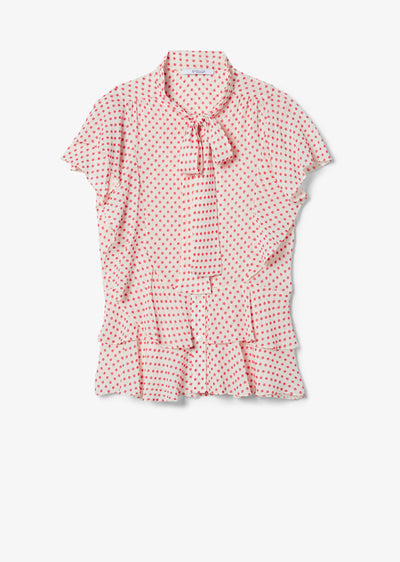 Ecru and Red Ona Cascade Blouse - Womens Top by Derek Lam