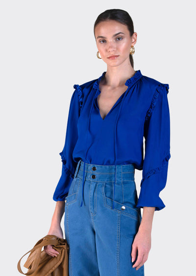 Electric Blue Jessa Long Sleeve Blouse With Ties - Women's Top by Derek Lam