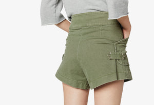 Fatigue Green Monterey Belted Short - Womens Shorts by Derek Lam