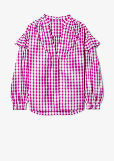 Fuchsia and White Gingham Kaena Ruffle Blouse - Womens Top by Derek Lam